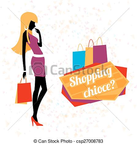 448x470 Vector Young Woman Shopping. Fashion Young Girl, Silhouette