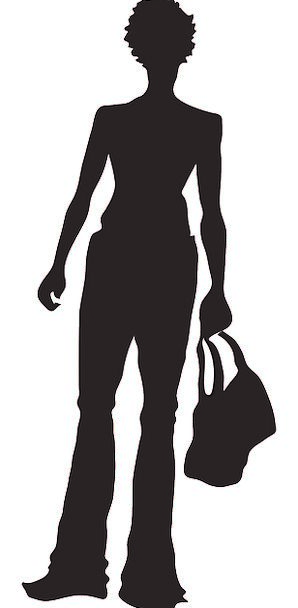 298x608 Woman, Lady, Fashion, Prize, Beauty, Silhouette, Outline, Purse
