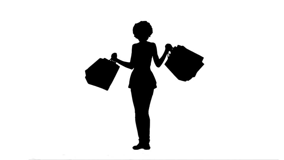 960x540 Woman Silhouette Grocery Bag Hd Stock Video 318 829 233