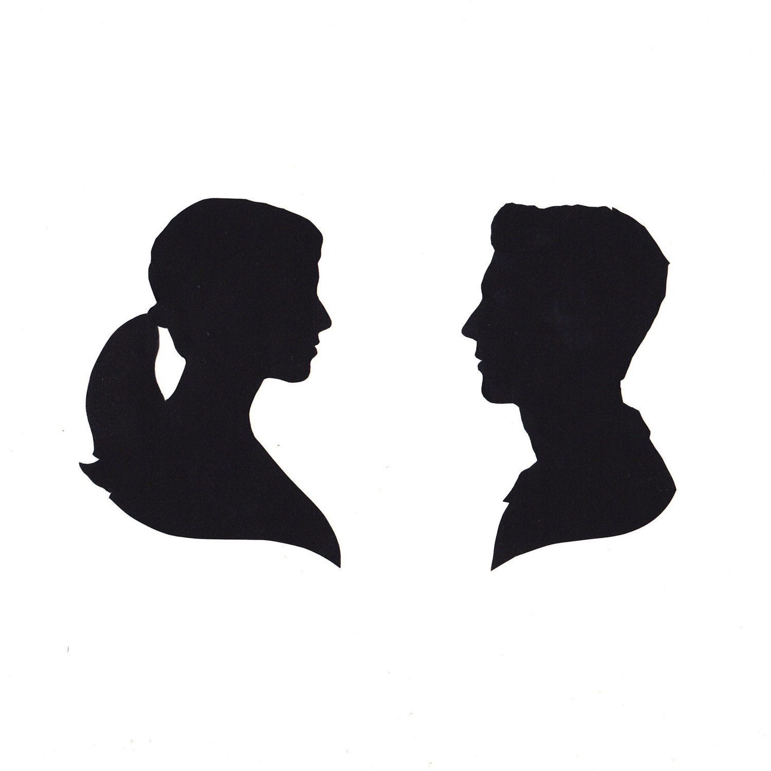 1500x1500 Side View Face Silhouette Clip Art