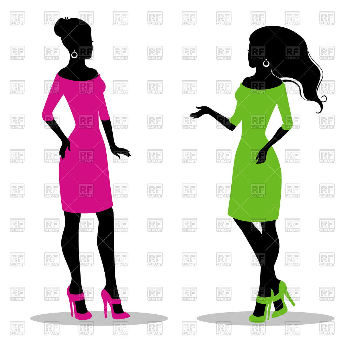 1200x1195 Silhouette Of Women In Green And Pink Dress Royalty Free Vector