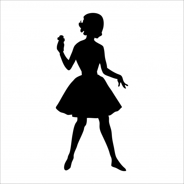 615x615 Woman Silhouette 1950s Clipart Free Stock Photo