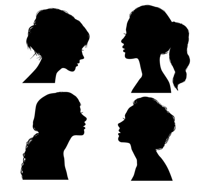 782x728 4 Beautiful Woman Side Face Silhouette Vector Free Vector