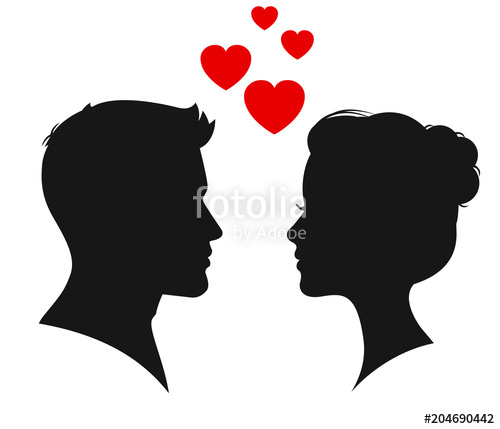 500x429 Man Woman Silhouette Face To Face Vector Stock Image