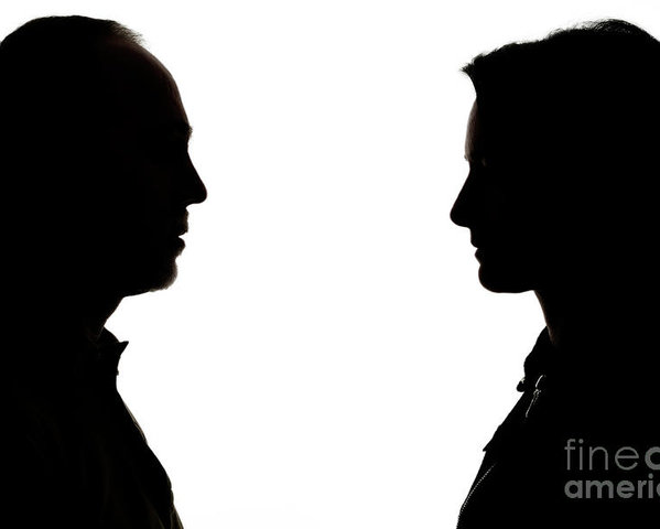 599x480 Silhouette Of Man And Woman Face To Face Poster By Sami Sarkis
