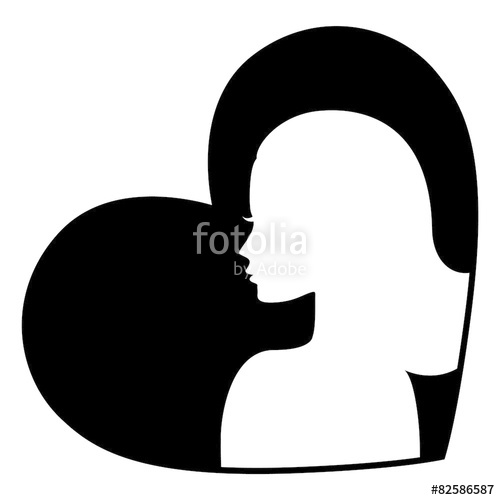 500x500 Woman Face Silhouette Icon Stock Image And Royalty Free Vector