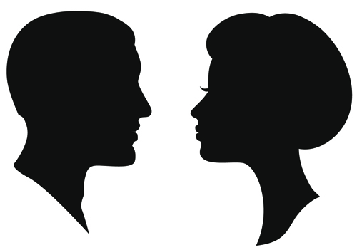 500x351 Creative Man And Woman Silhouettes Vector Set 02