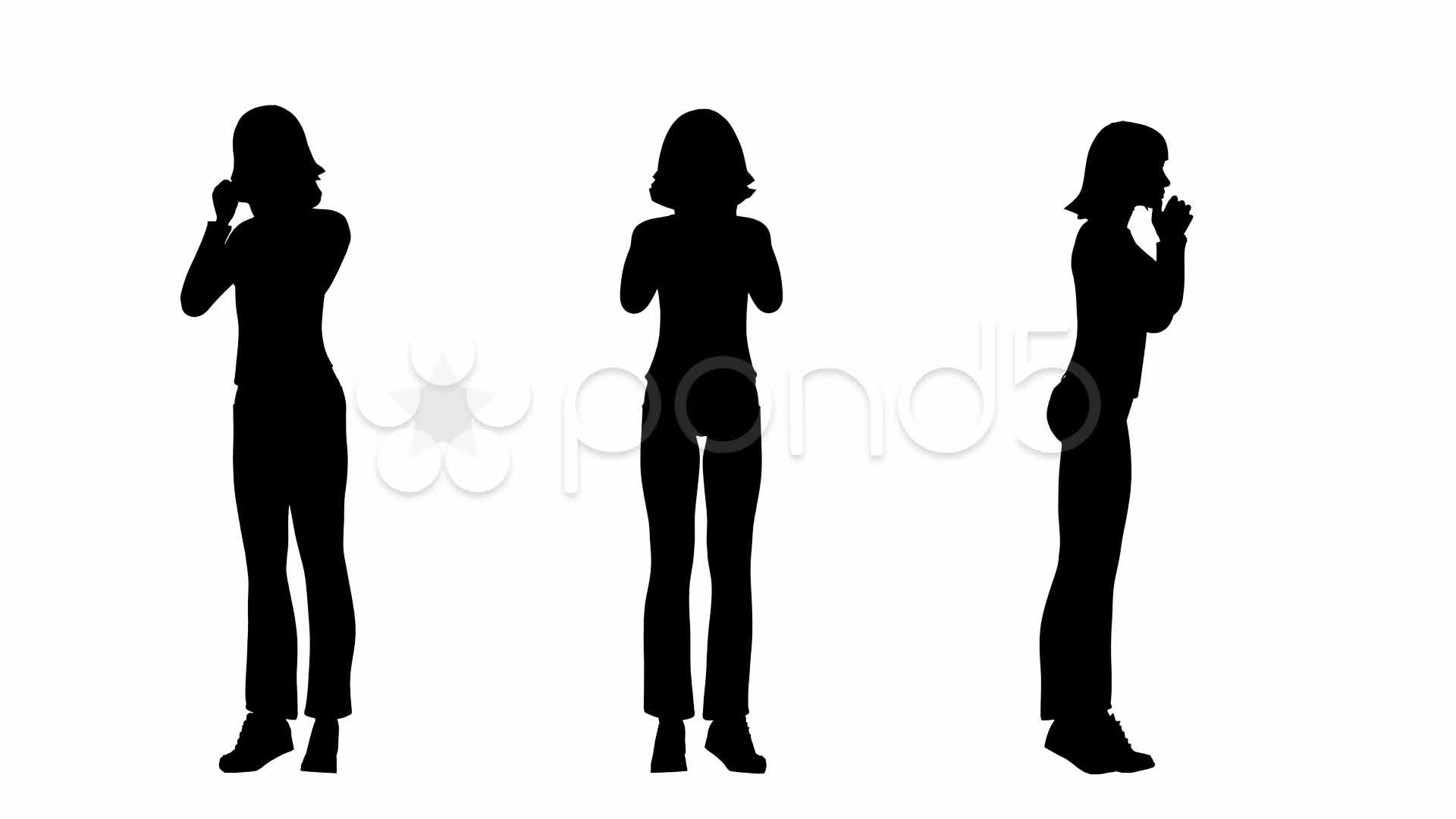 1920x1080 Loop Standing Woman Silhouette ~ Stock Footage
