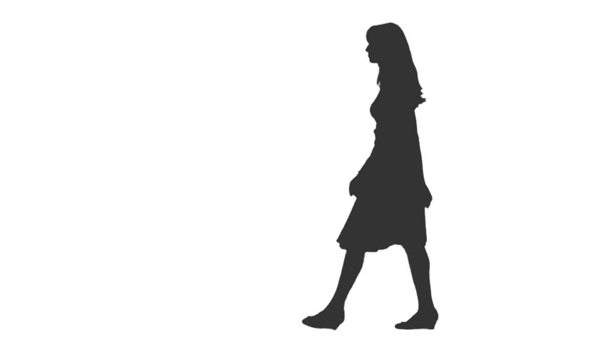 852x480 Silhouette Of Young Woman Walking. Side View. Full Hd Footage
