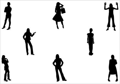 501x352 Women Standing Silhouette Vector Download Women Vectors People