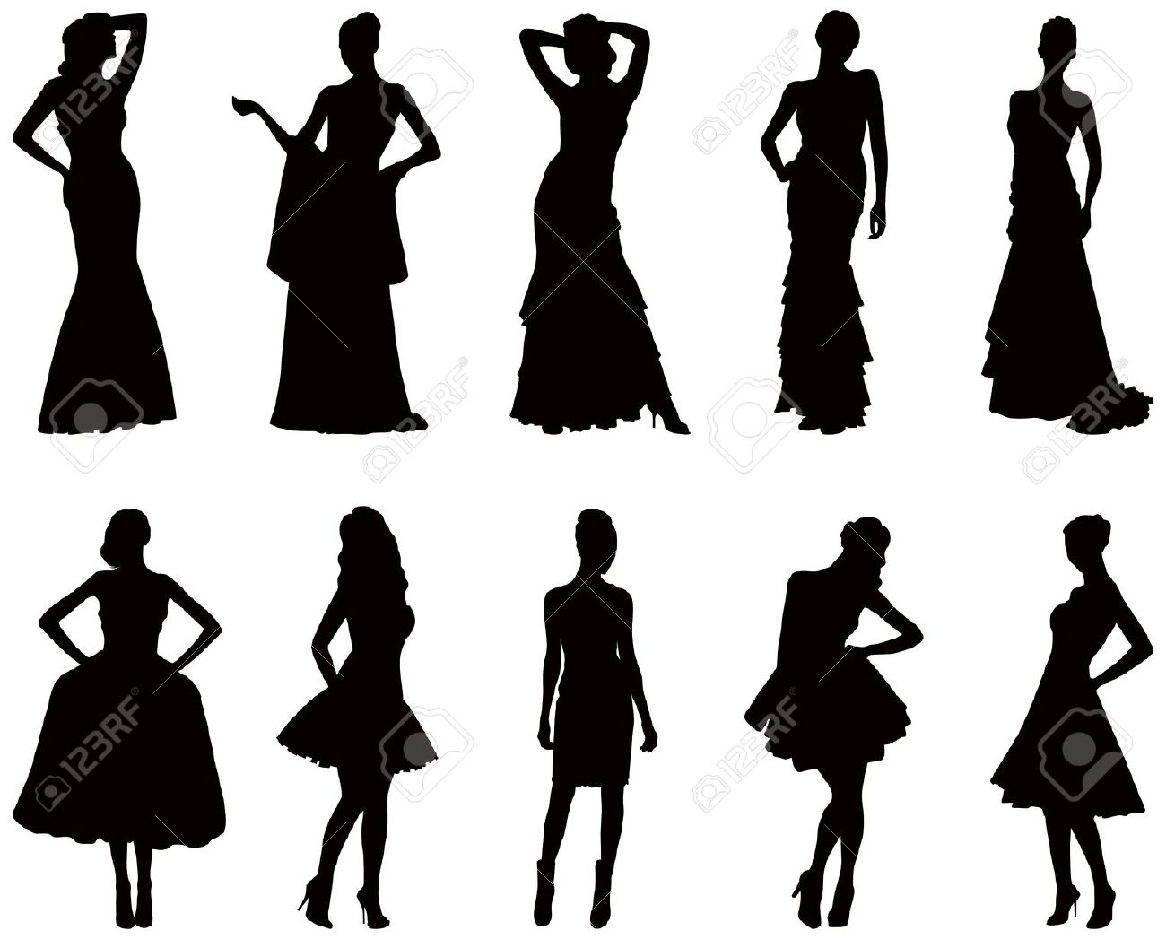 1300x1047 Woman In Long Dress Standing Clipart