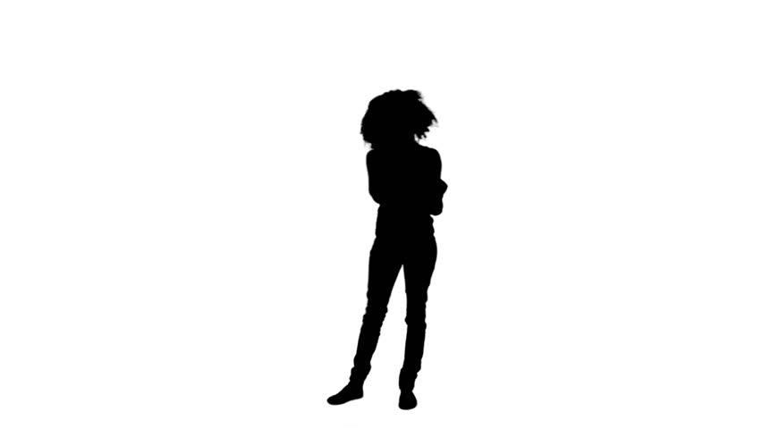 852x480 A Silhouette Woman Is Standing On Her Own Against A White