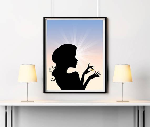 570x484 Nails Wall Art Beauty Salon Decor Woman Silhouette Home Decor