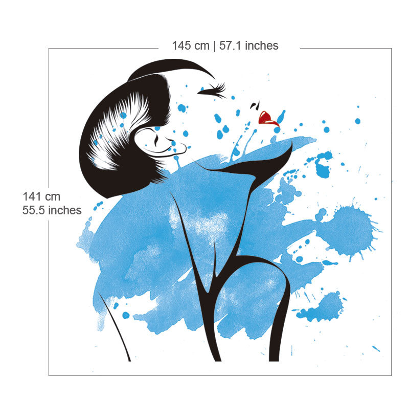 800x778 Watercolor Woman Silhouette Wall Decal Art