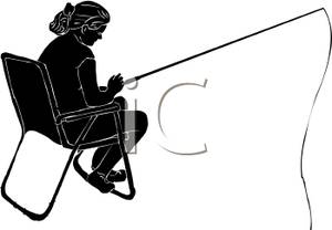 300x208 Silhouette Of A Woman Sitting In A Chair Watching A Fishing Line