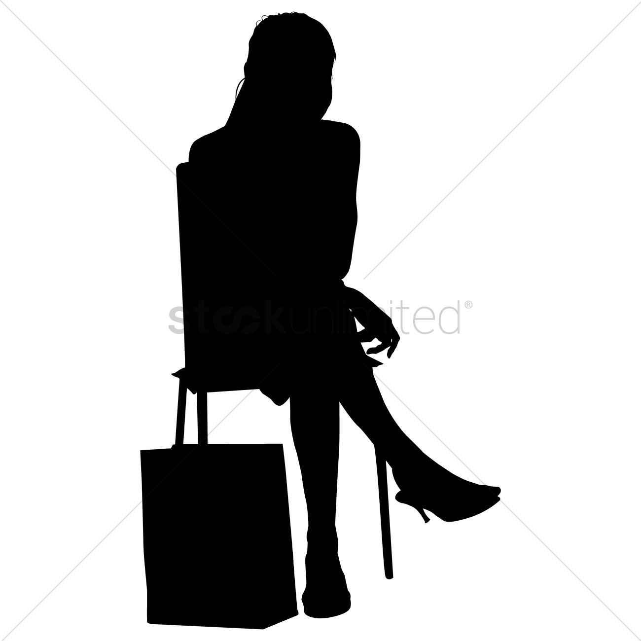 1300x1300 Silhouette Of A Lady Sitting On A Chair Vector Image