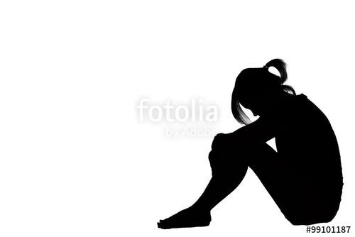 500x334 A Woman Sad Depressed Sitting Along Isolated On White Background