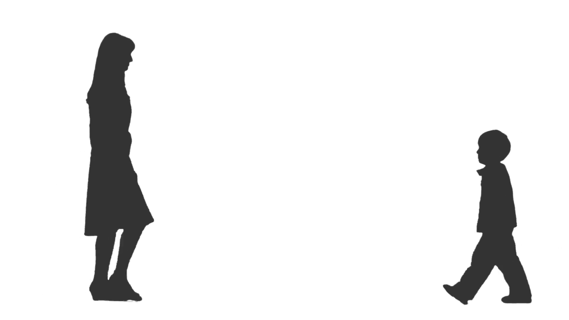 1920x1080 Silhouette Of A Woman Amp Her Little Son Standing And Talking. Full
