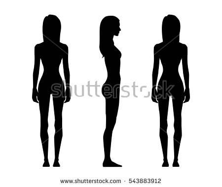 450x380 Lady Standing Side Silhouette Clipart