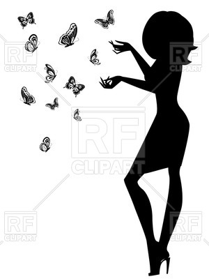 300x400 Woman Silhouette With Butterflies Royalty Free Vector Clip Art