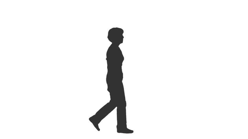 852x480 Silhouette Of Walking Woman. Side View. Full Hd Footage With Alpha