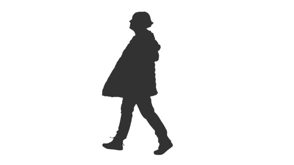 590x332 Silhouette Of Woman Walking With Hand In Pocket, Alpha Channel By