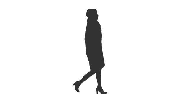 590x332 Silhouette Of A Woman Walking On Transparent Background, Alpha