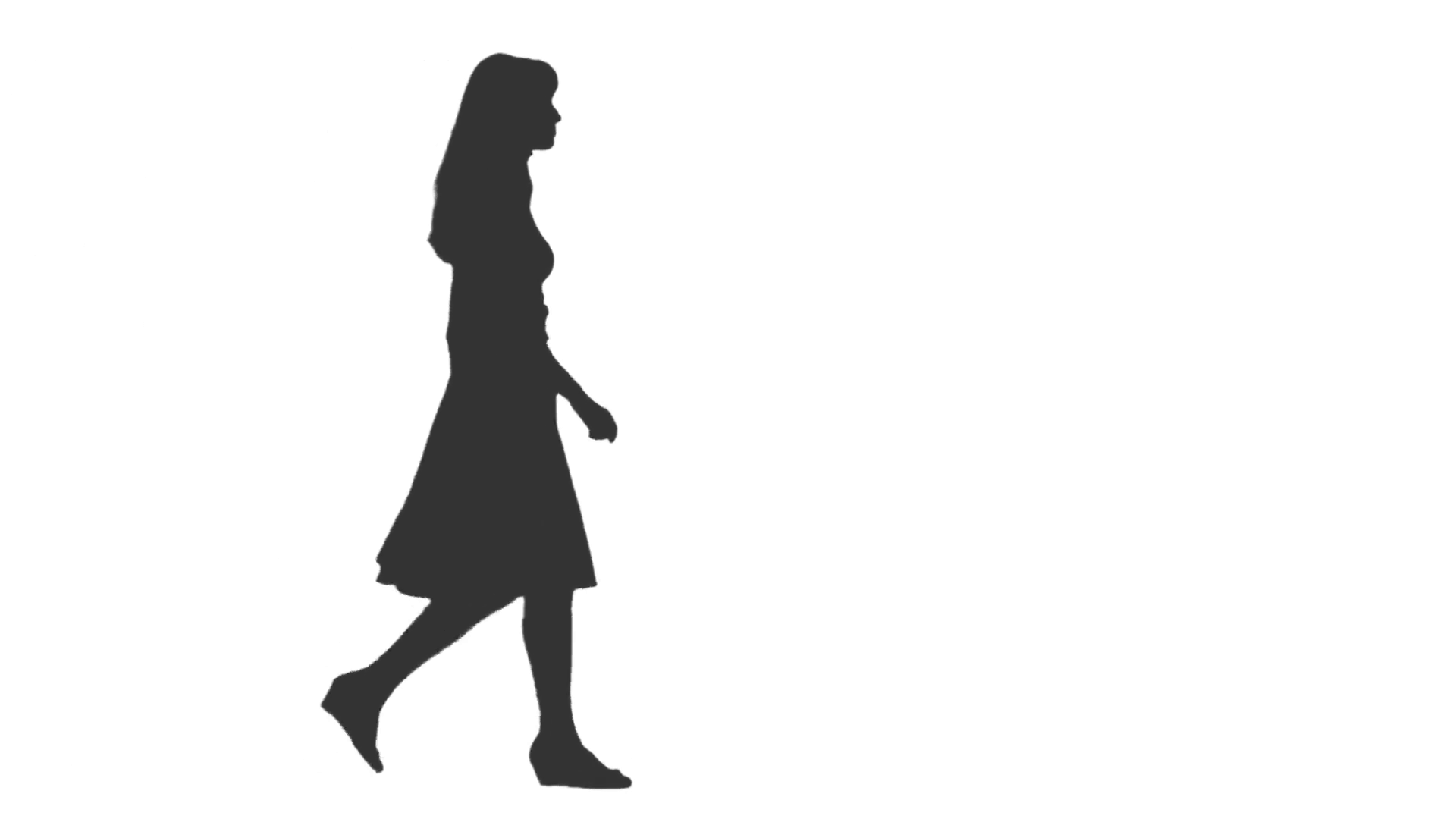 1920x1080 Silhouette Of Young Woman Walking. Side View. Full Hd Footage