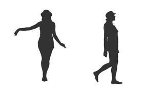 320x180 Silhouette Young Woman In Hat Walking Barefoot, 2 In 1, Alpha