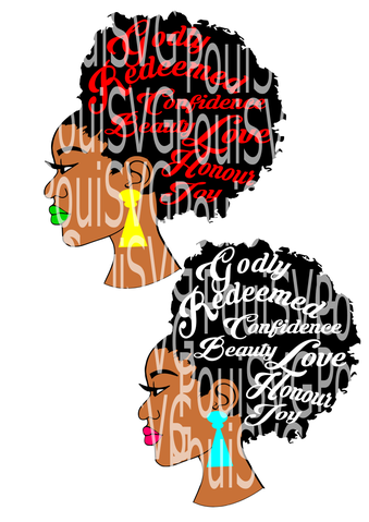 Woman With Afro Silhouette