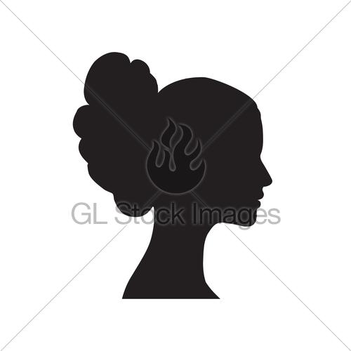 500x500 Pretty Girl Profile. Woman Face Silhouette. Portrait Brid Gl