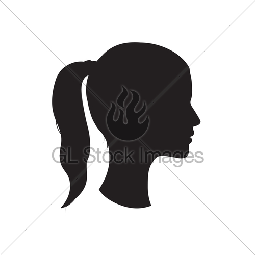 500x500 Pretty Girl Profile. Woman Face Silhouette. Portrait. Gl Stock