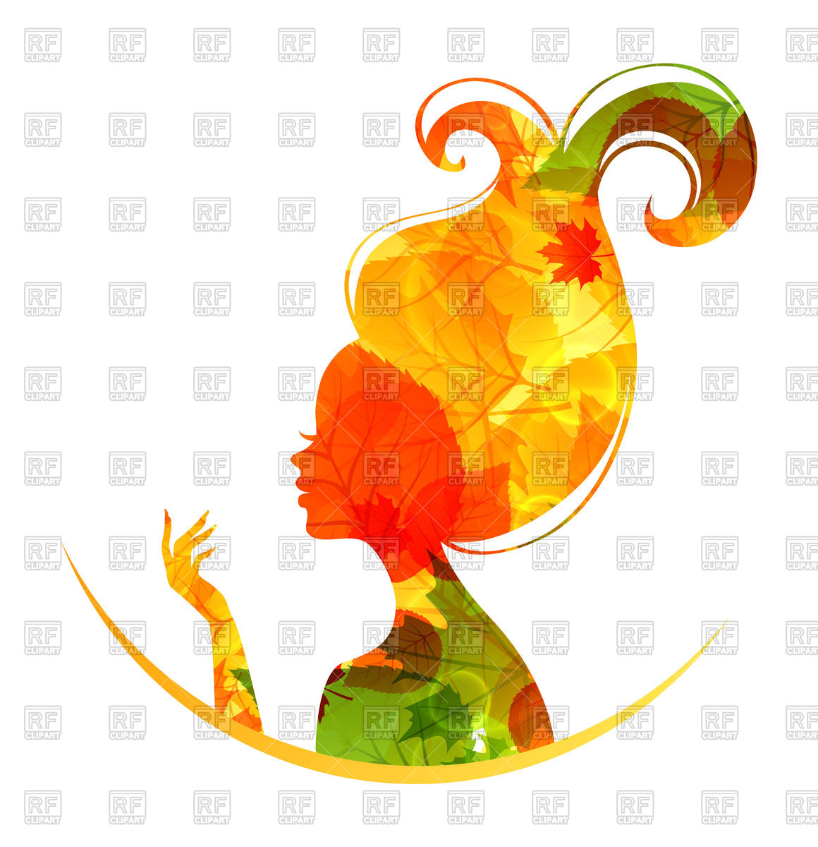1160x1200 Woman's Head Silhouette Made Of Autumn Foliage Royalty Free Vector