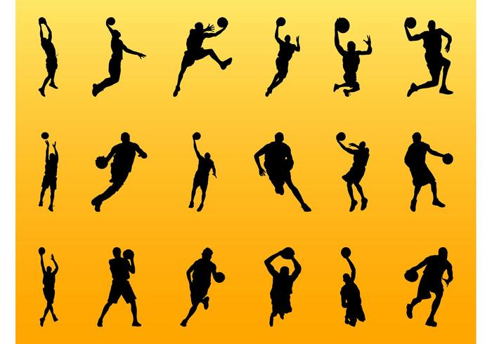 700x490 Basketball Player Silhouettes