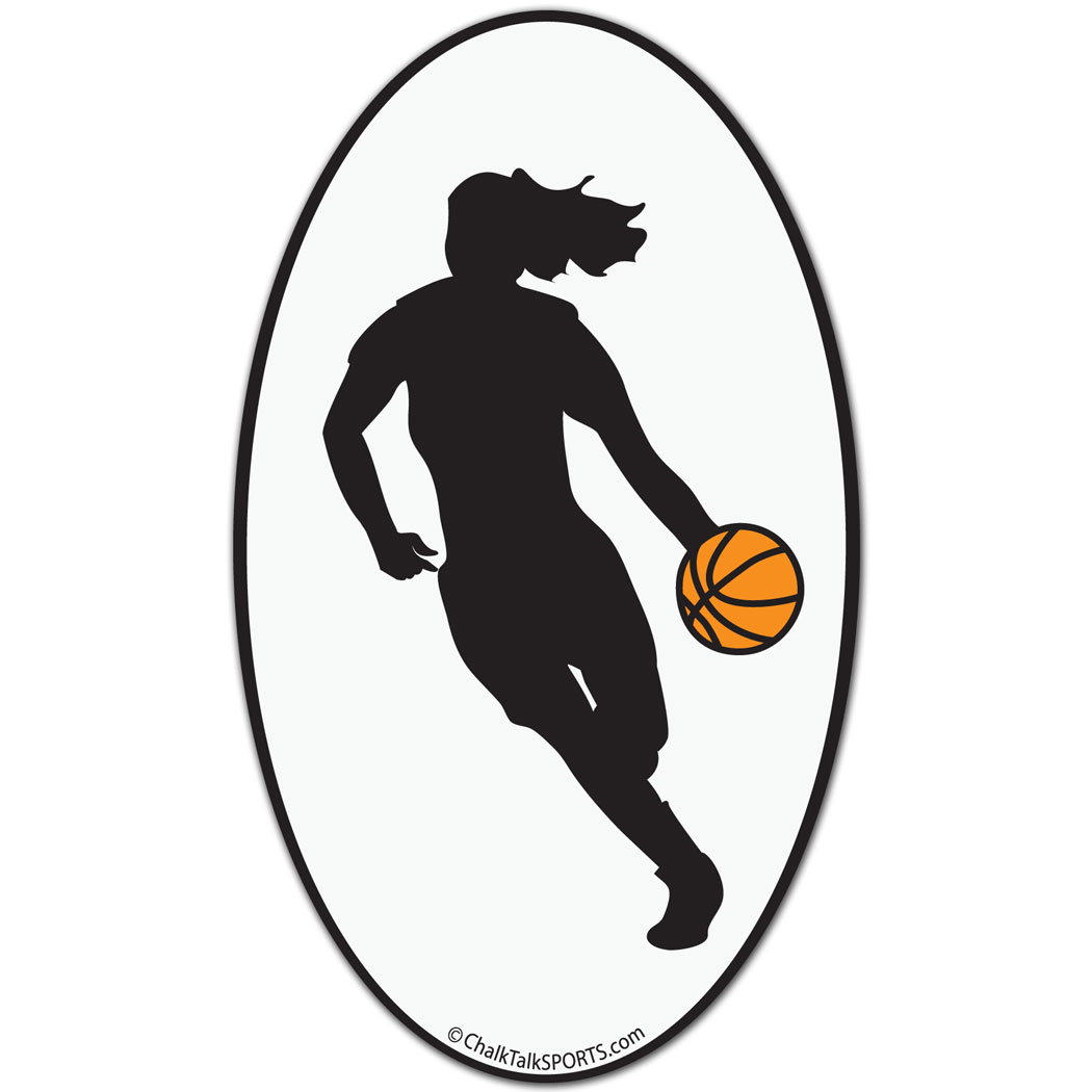 1050x1050 Basketball Girl Oval Car Magnet (Black) Basketball Shirt Designs