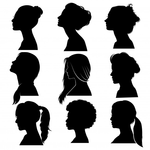 626x626 Beautiful Detailed Hair Women Face Profile Silhouette Set Vector