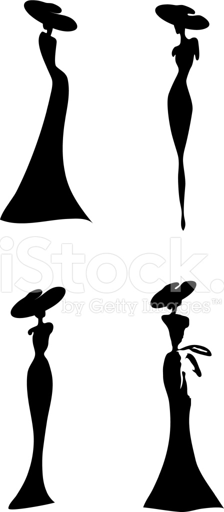 448x1024 Women Silhouette Stock Vector