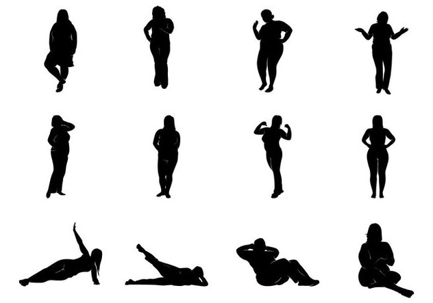632x443 Fat Women Silhouettes Vector Free Vector Download 369085 Cannypic
