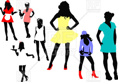 400x279 Standing Women Silhouettes Royalty Free Vector Clip Art Image