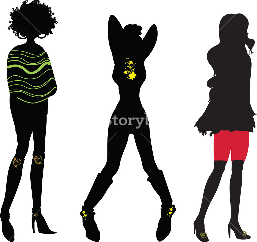 1000x942 Vector Fashion Women Silhouettes Royalty Free Stock Image