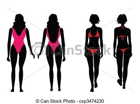 450x334 Vector Illustration Of Silhouettes Of Women In Bathing Suit Vector
