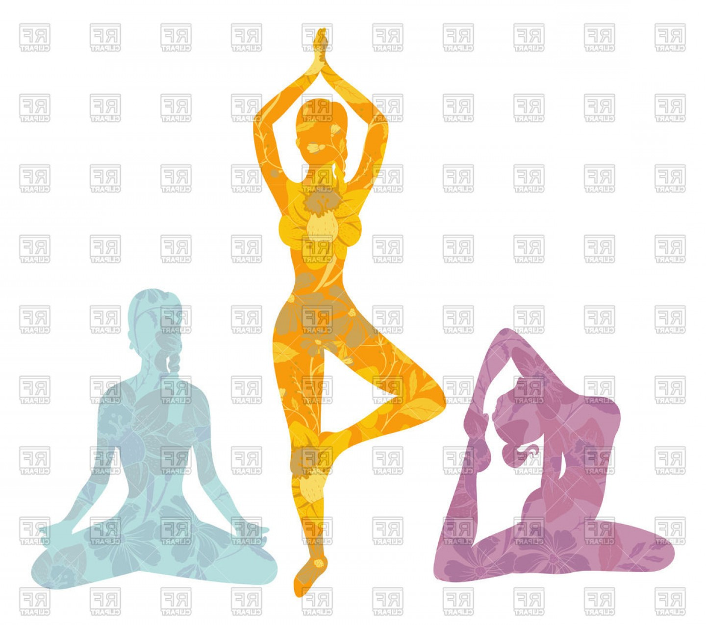 1440x1276 Women Silhouettes In Yoga Poses Vector Clipart Lazttweet
