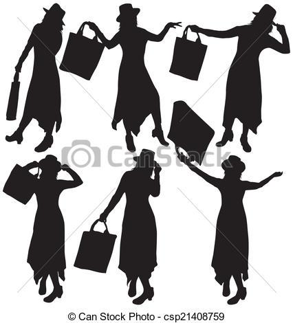 426x470 Women Silhouettes Clipart Vector