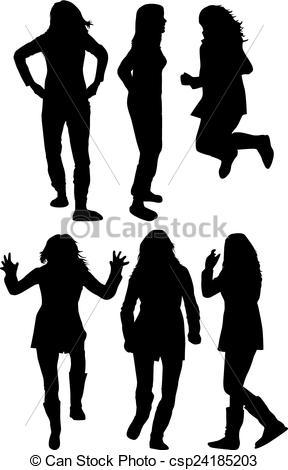 288x470 Women Silhouettes Vector Clipart