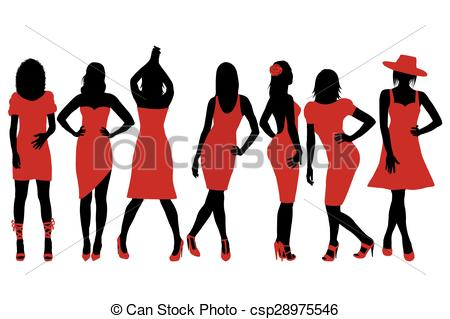 450x319 Collection Of Women Silhouettes In Red Dress Posing In Eps