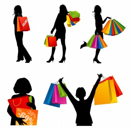 425x418 Fashion Shopping Women Silhouettes Vector Vector People Free