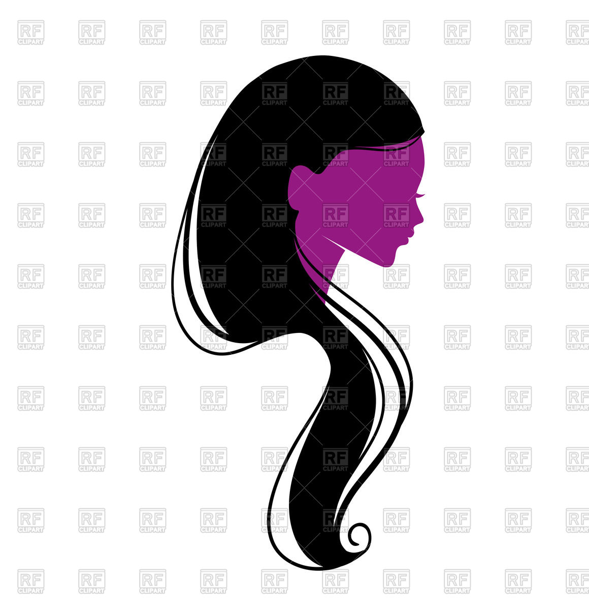 1160x1200 Long Hair Clipart Silhouette