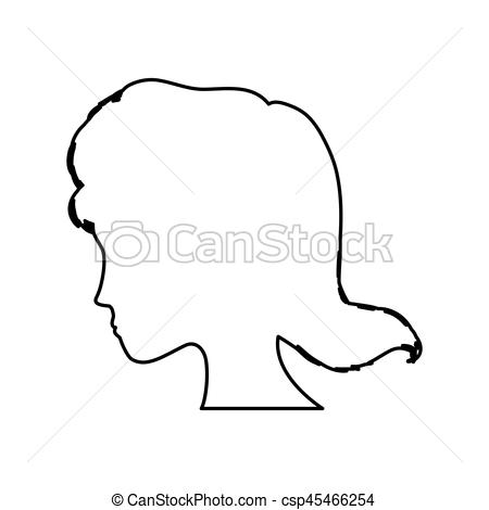 450x470 Woman Head Silhouette Icon Vector Illustration Graphic Clipart