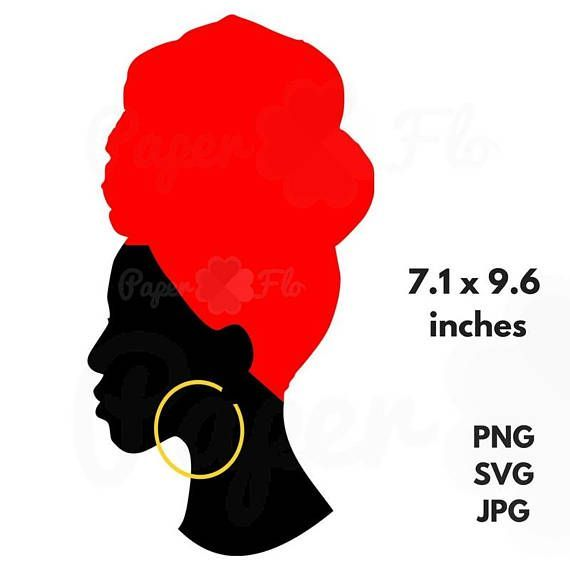 570x570 Headwrap Svg Silhouette Clip Art Black Woman Head Wrap Jpg File
