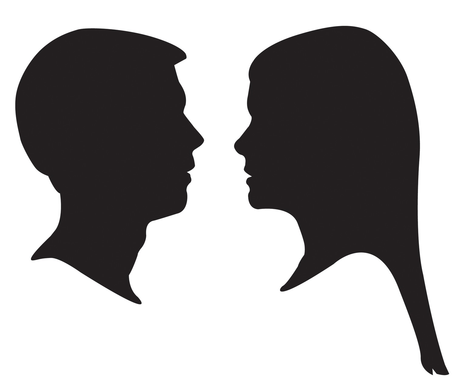 1500x1283 Clipart Man And Woman Head Silhouette